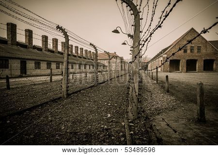 Electric fence in former Nazi concentration camp Auschwitz I, Poland