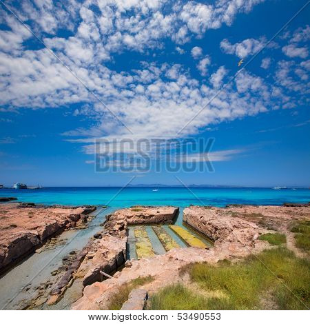 Formentera Illetes channel from sea to Estany Pudent at Balearic Islands