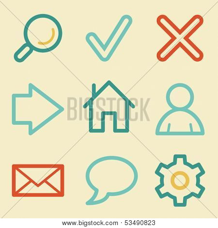 Basic web icons, retro colors