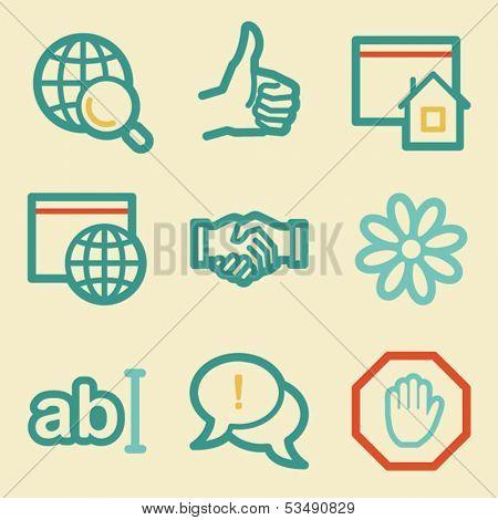 Internet web icons, retro colors