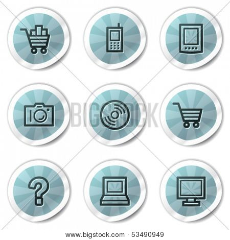 Electronics web icons set 1, blue shine stickers series