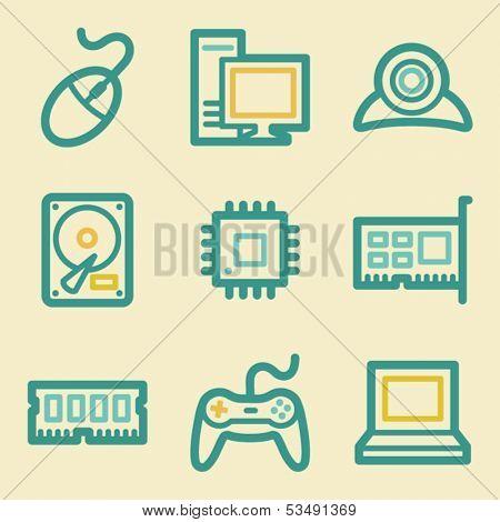 Computer web icons, retro colors