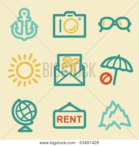 Travel web icons, retro colors