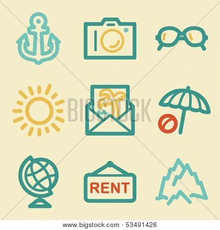 Travel web icons, retro colors