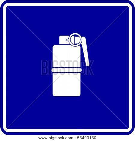 hand grenade explosive sign