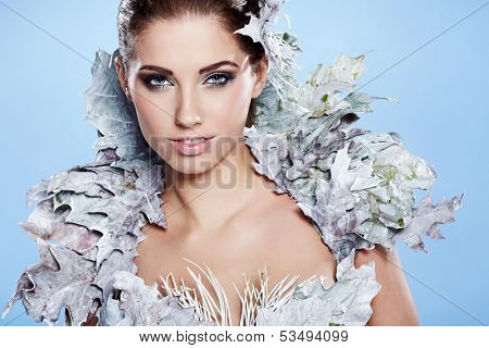Winter woman in a dress of Snow Queen