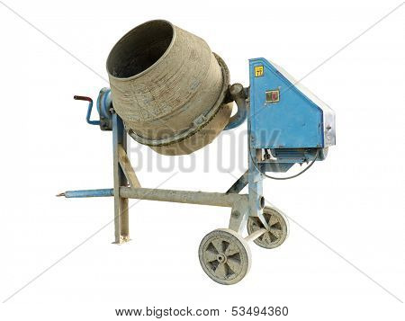 Old dirty concrete mixer isolated on white