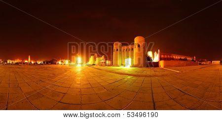 Panorama of western gate (Ata Darvoza) to ancient town of Itchan Kala. Khiva, Uzbekistan
