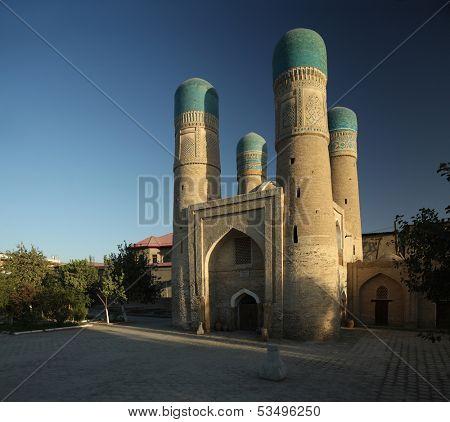 Chor Minor madrassah in the city of Bukhara, Uzbekistan