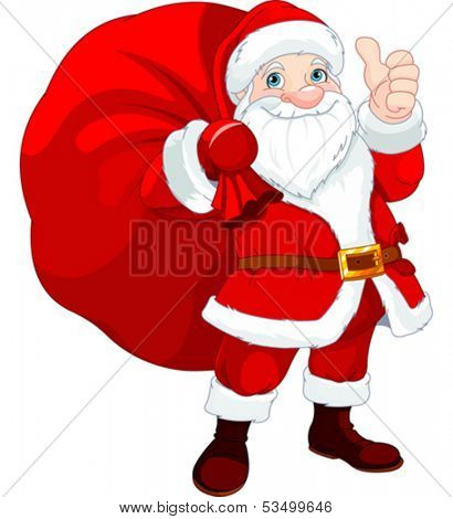 Cute Santa Claus with a bag full of Gifts