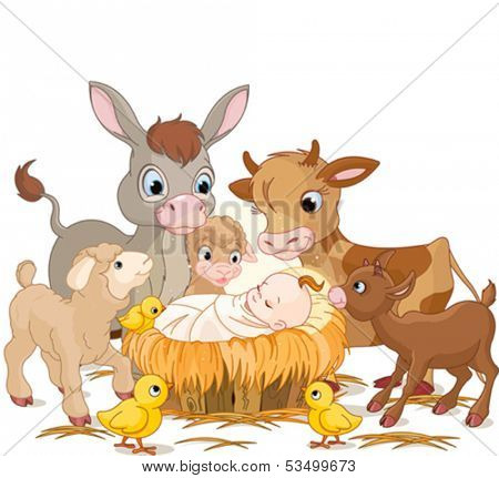 Holy child with donkey, lambs, goat and calf