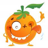 stock photo of crazy face  - Crazy cartoon orange fruit character with green leaf making a face with tongue and thumb up gesture - JPG