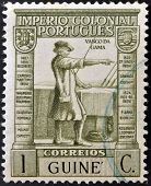 PORTUGAL - CIRCA 1932: A stamp printed in Portugal with underprint Guinea shows Vasco Da Gama