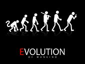 picture of ape-man  - Abstract Vector Illustration Of The Evolution Theory To Smartphone Addicts - JPG