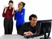 stock photo of indecent  - business people in office situations - JPG