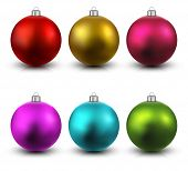 Colorful christmas balls on white reflective surface. Set of isolated realistic decorations. Vector