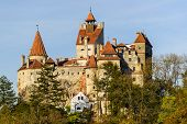 stock photo of dracula  - lanscape with dracula bran castle in transylvania romania - JPG