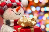 image of snowman  - Christmas and New Year snowman on the background of the Christmas tree