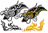 pic of dragon head  - dragon head tattoo illustration isolated on white background - JPG