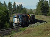 stock photo of bnsf  - emd 9044 leads a westbound manifest train downhill - JPG