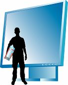 picture of siluet  - Vector illustration for monitor and men - JPG