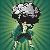 Generic superhero figure lifting a large boulder.  Layered & easy to edit. See portfolio for simular