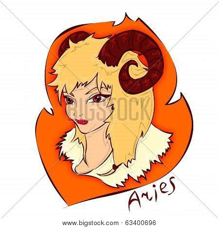 Cartoon illustration of zodiac sign aries