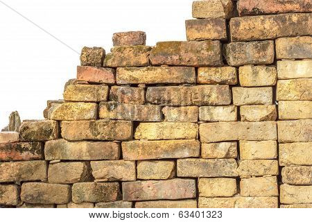 Red Brick Wall Isolated.