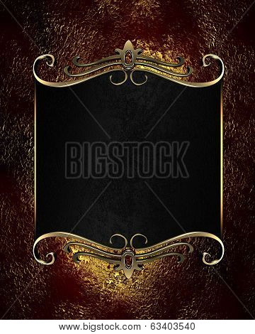 Red-golden Background With Black Nameplate With Gold Ornament