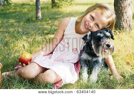 Laughing Little Girl Hugging Her Dog