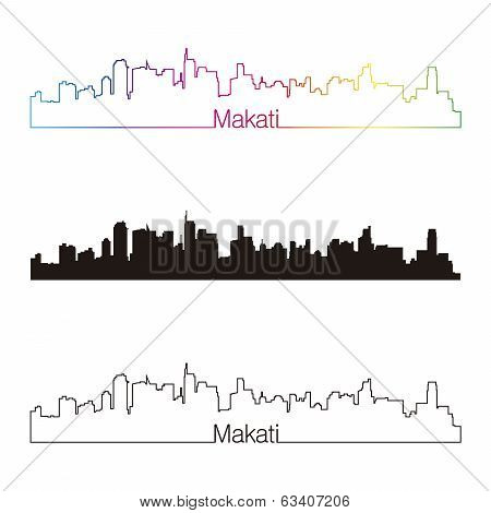 Makati Skyline Linear Style With Rainbow