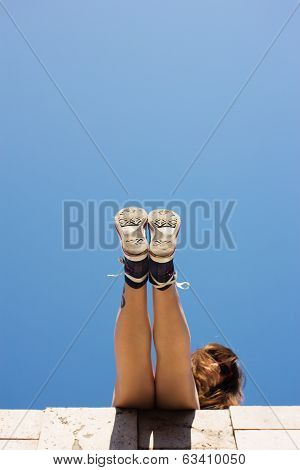 Sneakers on girls feet