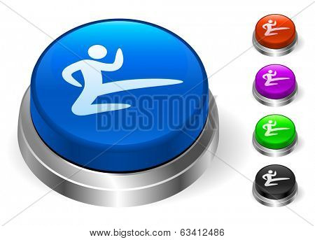 Karate Icons on Round Button Collection