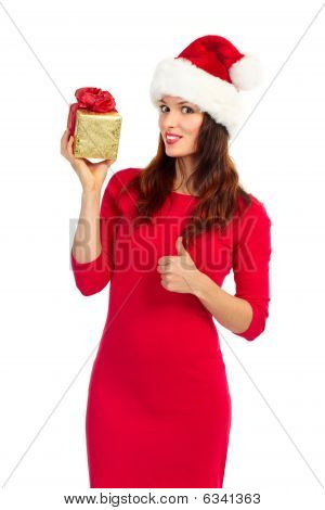 Santa Woman With Christmas Present