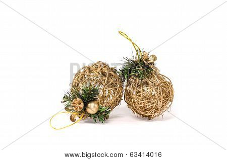 Two wattle christmas tree decoration over white