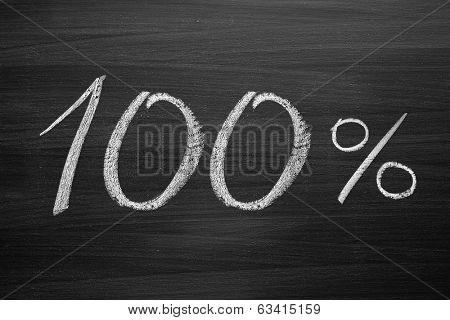 100-percent title written with a chalk on the blackboard