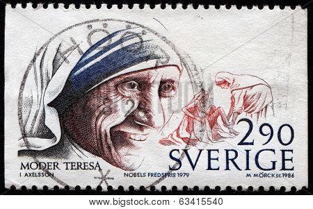 SWEDEN - CIRCA 1979: stamp printed in Sweden dedicated to Nobel Peace winner Mother Theresa, circa 1979