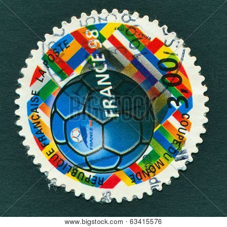 FRANCE, CIRCA 1998: FIFA WORLD CUP 1998 in France - a stamp showing a football, circa, 1998