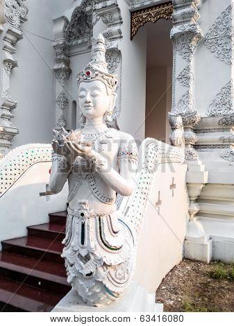 Thai Art, Angel Fusion Naka Statue On Staircase