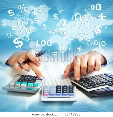 Hands of business people with calculator collage background.