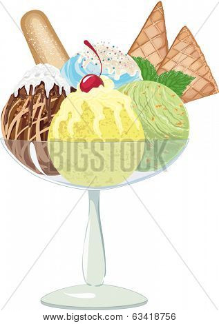 Four different balls of ice cream in a glass vase on white background. EPS8.