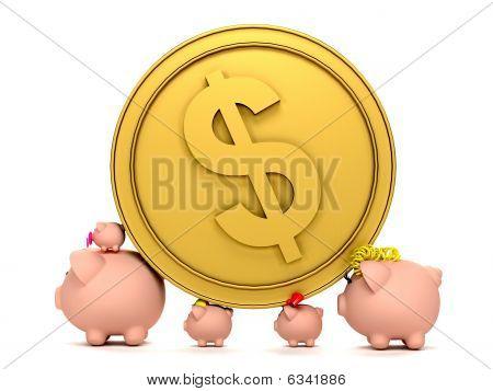 Piggybank Family With A Coin