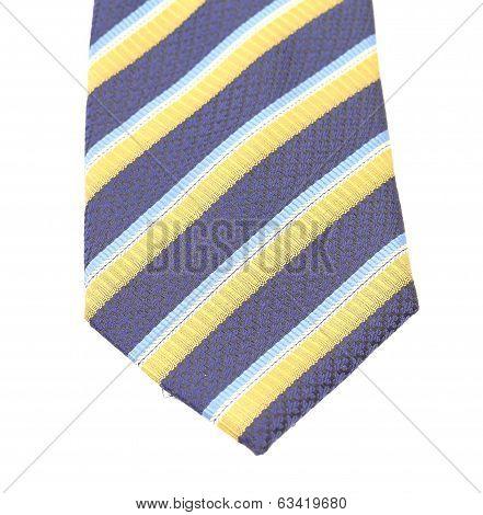 Stripy necktie close up.