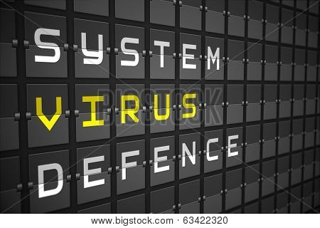 Virus buzzwords on digitally generated black mechanical board