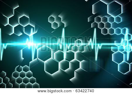Digitally generated ECG line in black and blue