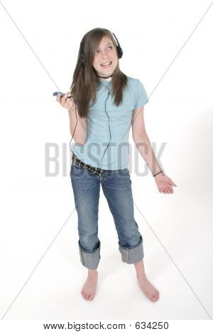 Young Teen Girl Listening To Music 3