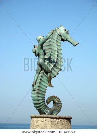 Boy And Seahorse Sculpture