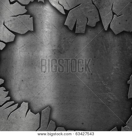 Cracked metallic background with red grunge underlay