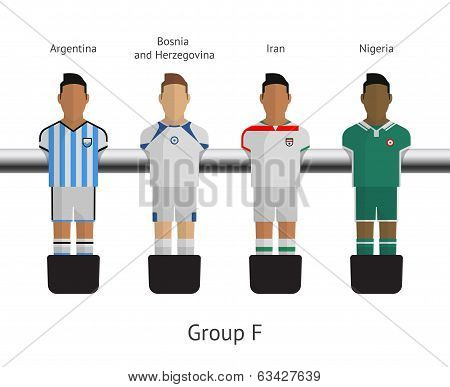 Table football, soccer players. Group F - Argentina, Bosnia and Herzegovina, Iran, Nigeria