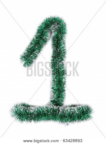 Christmas green tinsel as number 1.